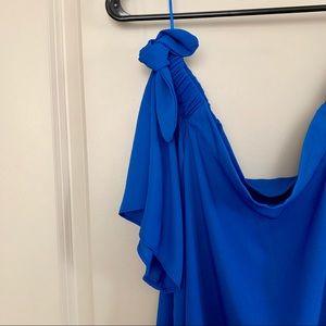 Q&A Tops - Off The Shoulder Blue Blouse